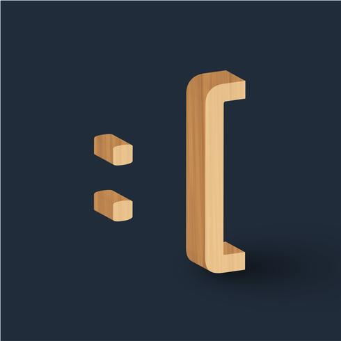 3D wood font character emoticon, vector