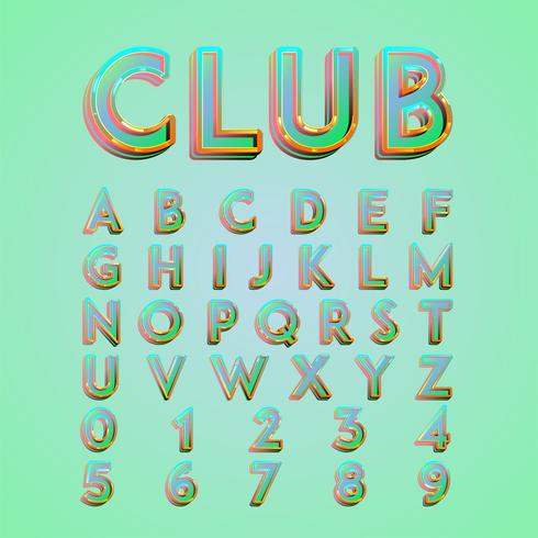 Colorful 'CLUB' neon lights typeset, vector