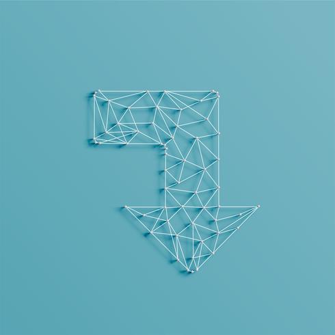 Una freccia fatta da linee e spilli, 3D realistici, illustrazione vettoriale