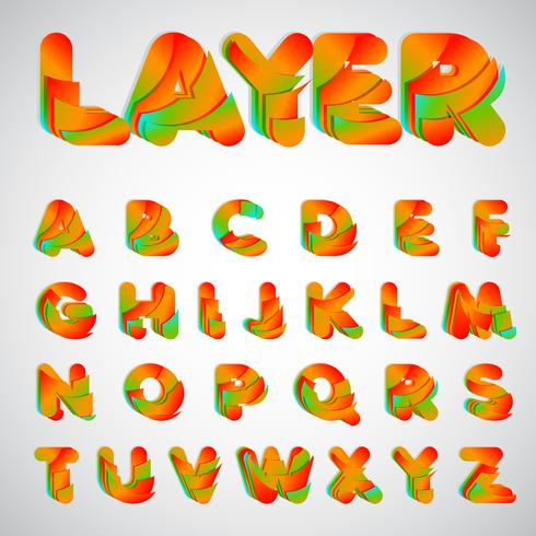 Layered colorful font, vector illustration