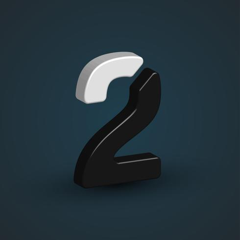 3D-zwart-wit personage uit een lettertype ingesteld, vector illustratie
