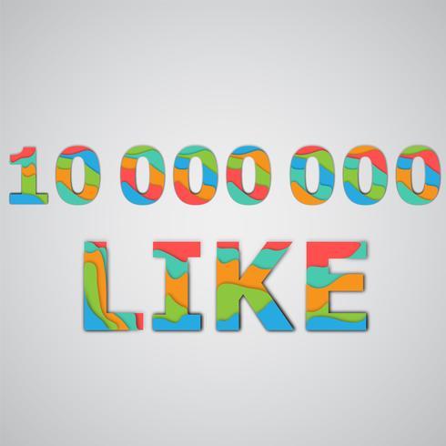 """Un numero di """"Mi piace"""" fatto da personaggi colorati a strati, illustrazione vettoriale"""