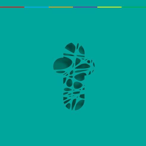 Cutout-tecken från en fontset, vektor