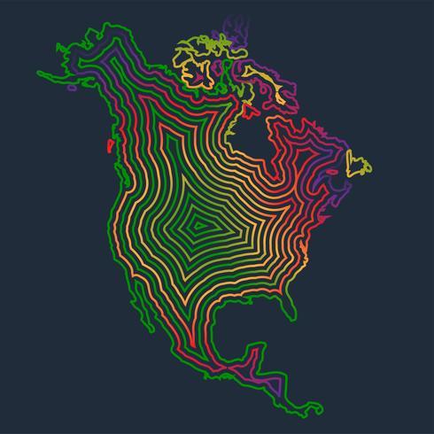 Färgglada Nordamerika gjord av slag, vektor