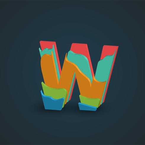 3D colorido personagem em camadas de um fontset, vetor