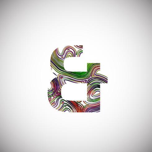 Kleurrijk karakter van een lettersoort, vectorillustratie