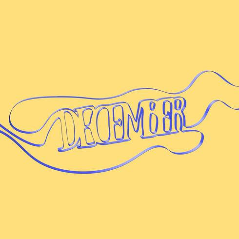 Ribbon font forms 'December', vector illustration