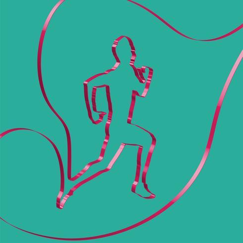 Colorful ribbon shapes a runner, vector