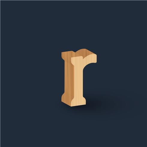 Personagem de fonte de madeira 3D, vetor