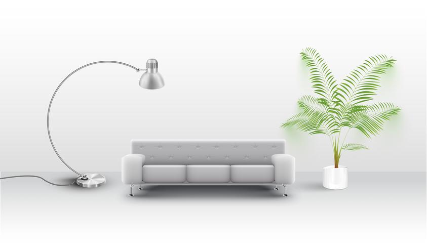 Un sofá blanco con una vuelta y una planta, vector.