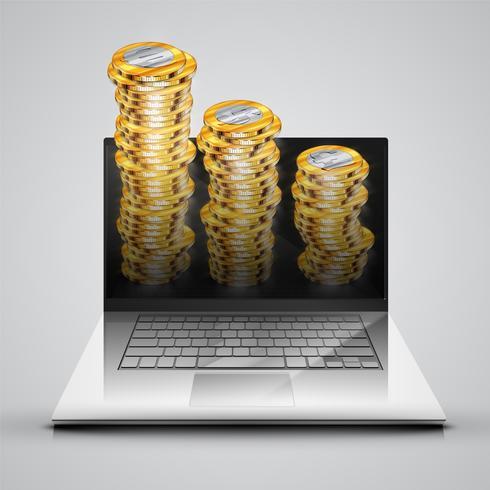 Cahier réaliste avec des pièces d'argent, illustration vectorielle
