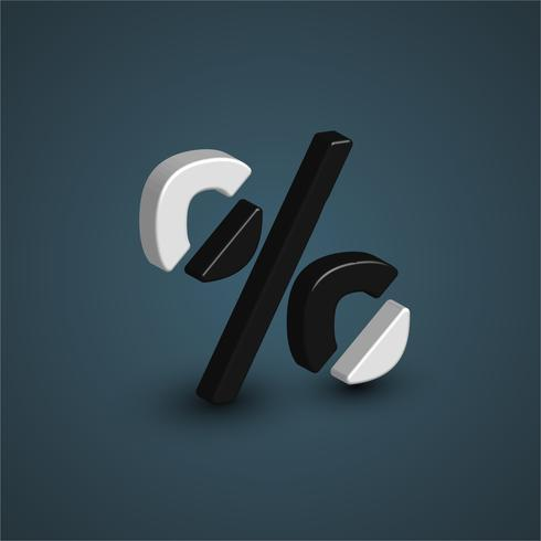 3D black and white character from a font set, vector illustration