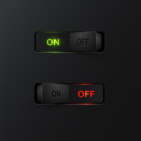 Realistic black switches with backlight ON/OFF, vector