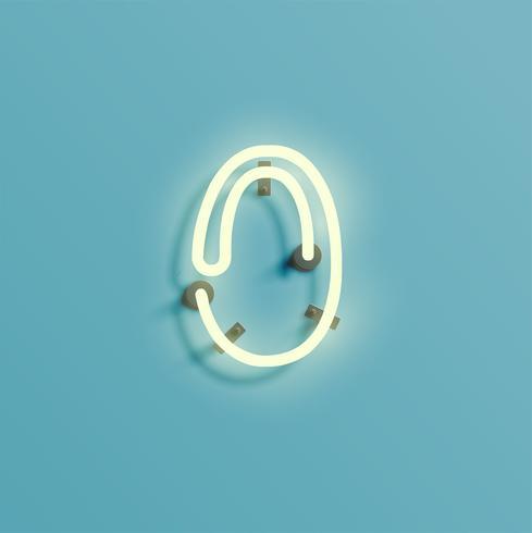Realistisk neon karaktär från en fontset, vektor