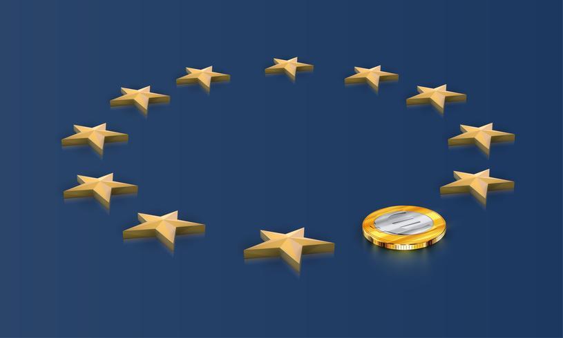Bandera de la UE, una estrella reemplazada por una moneda euro, vector