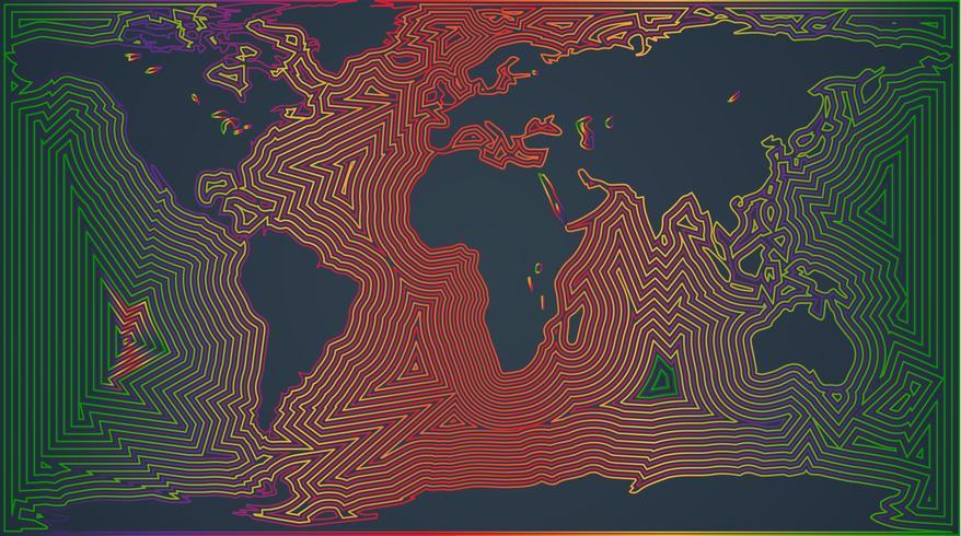 Mapa colorido do mundo, ilustração vetorial