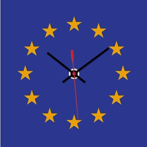 Brexit clock, missong star from the EU flag, vector