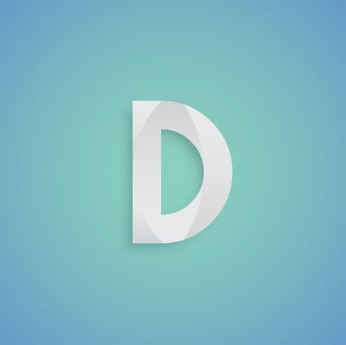 White paper character on blue background from a typeset, vector