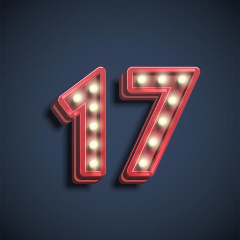 Caractère nombre réaliste avec des lampes, illustration vectorielle