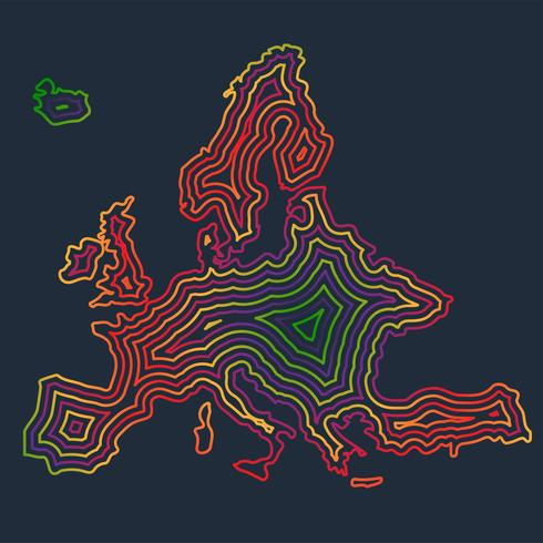 Colorful Europe made by strokes, vector