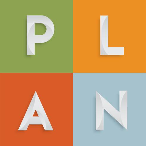 'PLAN' vierletterwoord voor websites, illustratie, vector