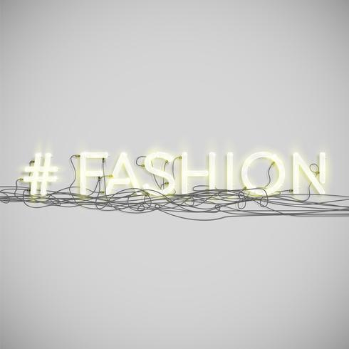 Palabra de hashtag de neón realista, ilustración vectorial