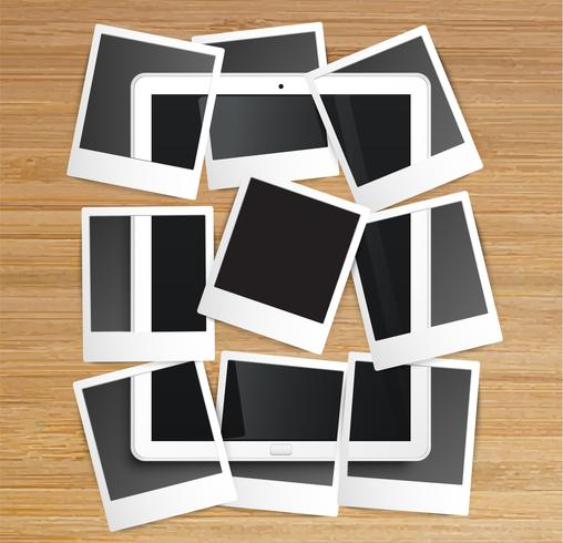 Realistic tablet with picture frames, vector