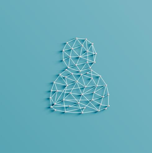 Realistic illustration of a figure icon made by pins and strings, vector