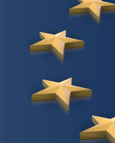 La bandiera dell'Unione Europea stars in 3D, vettore
