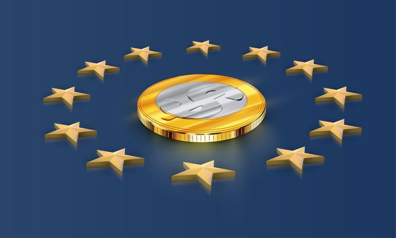 Bandera de la Unión Europea estrellas y dinero (dólar), vector