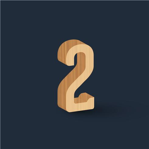 3D trä teckensnitt tecken, vektor