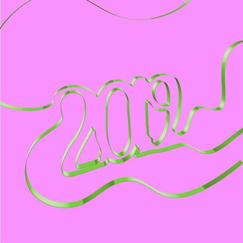 Cinta abstracta forma un año, ilustración vectorial