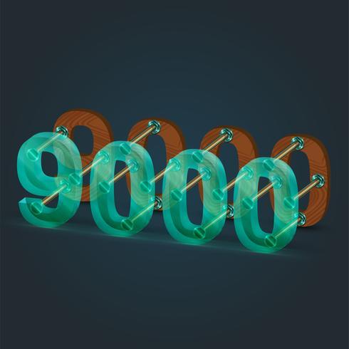 Nummer gjord av glas och trä, vektor