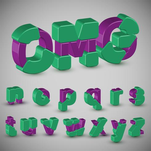 Conjunto de caracteres coloridos 3D de un vector de composición tipográfica,