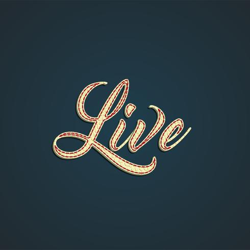 'Live' label made by leather, vector illustration