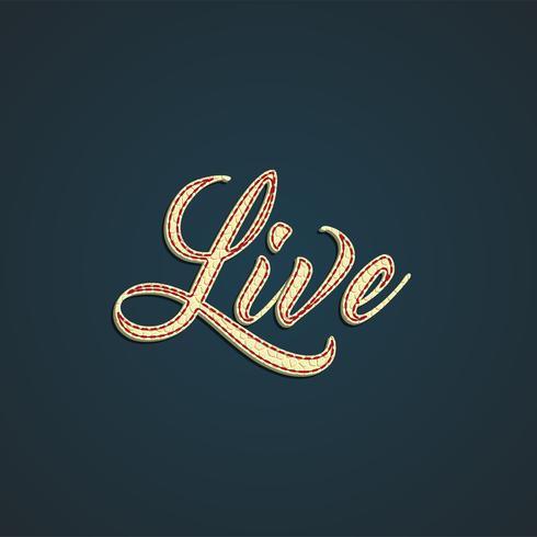 """""""Ao vivo"""" rótulo feito pelo couro, ilustração vetorial"""