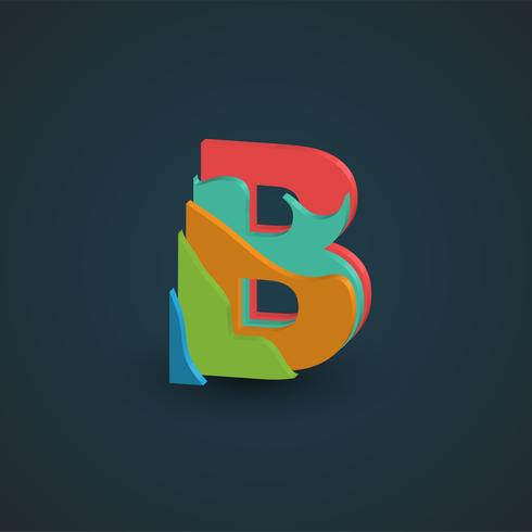 3D colorful layered character from a fontset, vector
