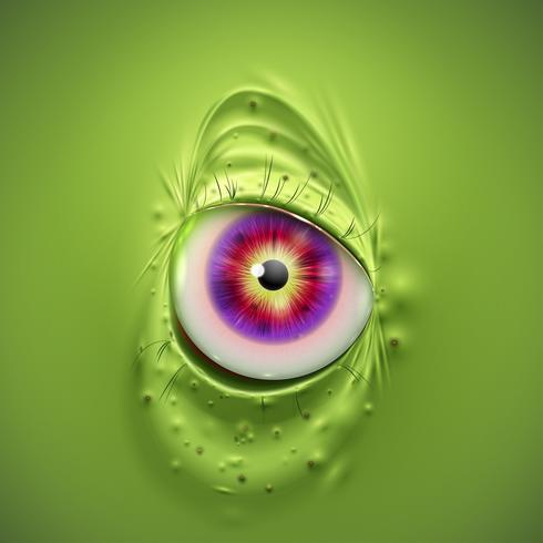Ojo de un monstruo verde de miedo, vector