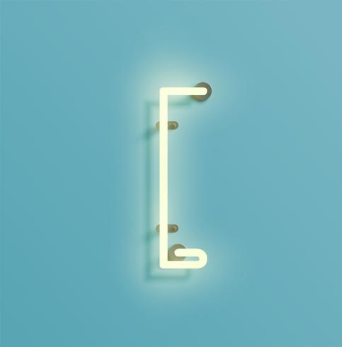 Realistic neon character from a fontset, vector