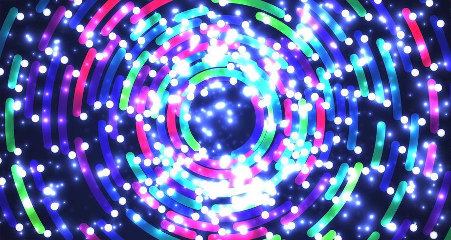Colorful neon circles background, vector