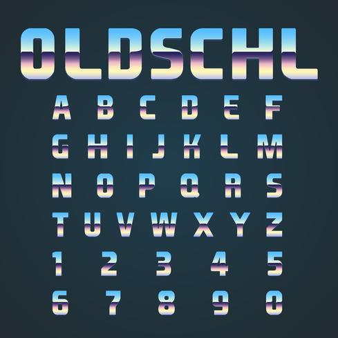 OLDSCHL retro font set, vector