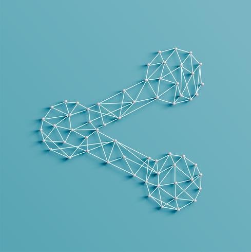 Ilustração realista de um ícone de compartilhamento feito por pinos e cordas, vetor
