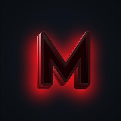 Personagem de luzes de néon vermelho 'CLUB' de um fontset, vetor