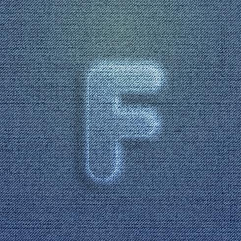 Personaje hecho por denim, de una tipografía, vector.