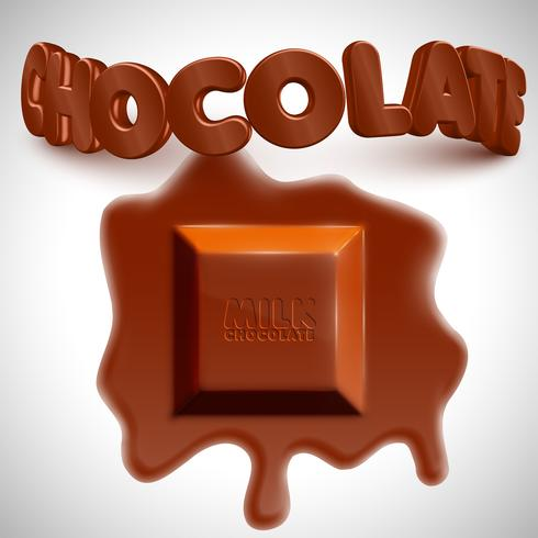 Melting 3D realistic chocolate cube, vector