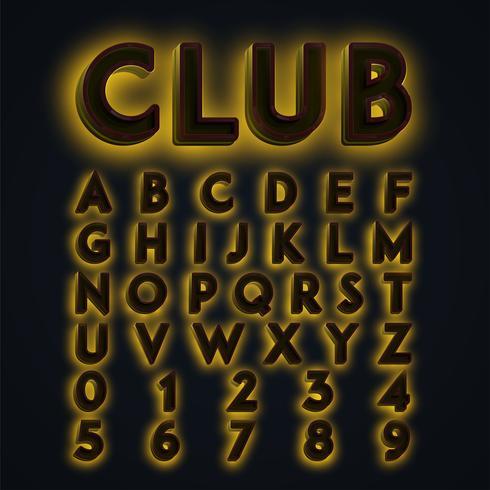 Yellow 'CLUB' neon lights typeset, vector
