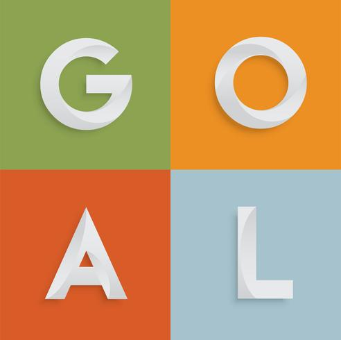 Palavra de quatro letras 'GOAL' para sites, ilustração, vetor