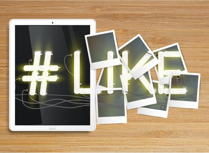 "Realistic tablet with neon ""#like"" and picture frames, vector"