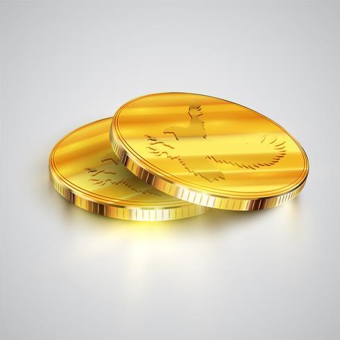 Monete realistiche, illustrazione vettoriale