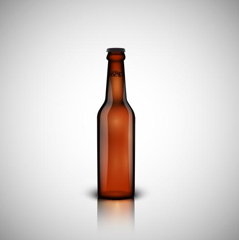 Brown realistic bottle of beer, vector illustration